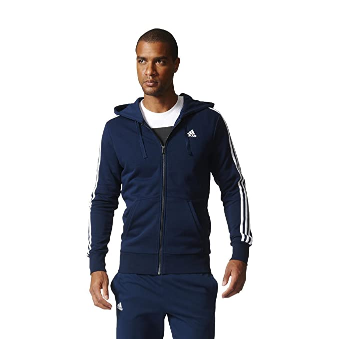 authorized site price reduced classic adidas Men's Ess 3s Fz Ft Sports Hoodie, Blue (Collegiate ...