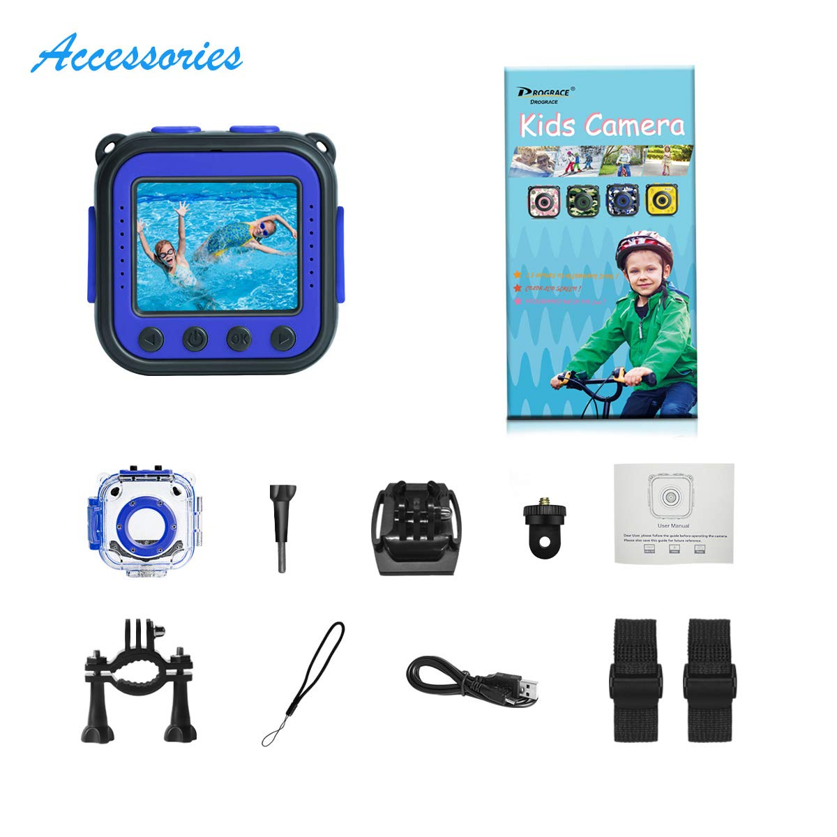 [Upgraded] PROGRACE Kids Waterproof Camera Action Video Digital Camera 1080 HD Camcorder for Boys Toys Gifts Build-in Game(Blue)  by Prograce (Image #6)