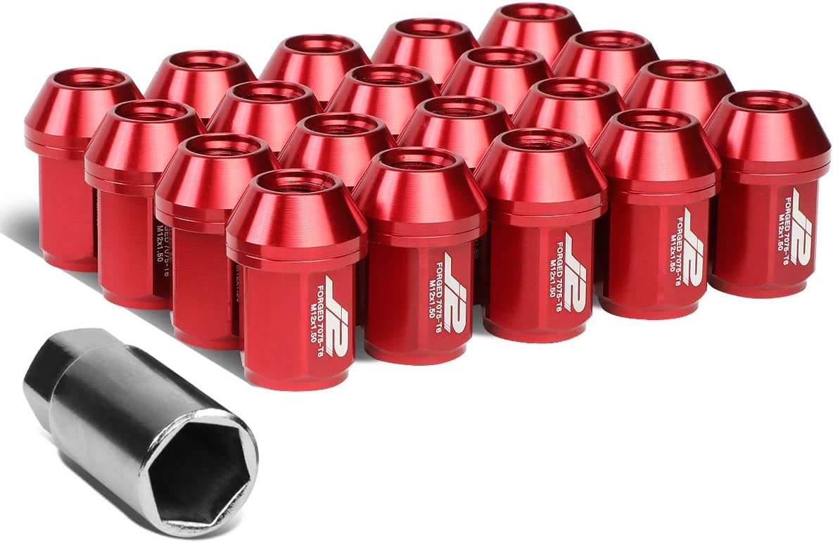 J2 Engineering 7075-T6 Replacement forged Aluminum M12X1.5 20Pcs 35mm Tall Close-End Lug Nut Set w/Adapter Red