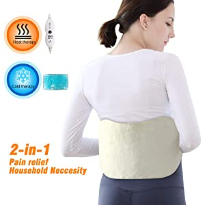 Tech Love Waist Heating pad for Lower Back Pain, Shoulder, Leg, Stomach Cramp Relief with Elastic Bands, Gel Pack for Hot or Cold Therapy, Mutifuctional, Reusable, Portable Heat Wrap, Off-White