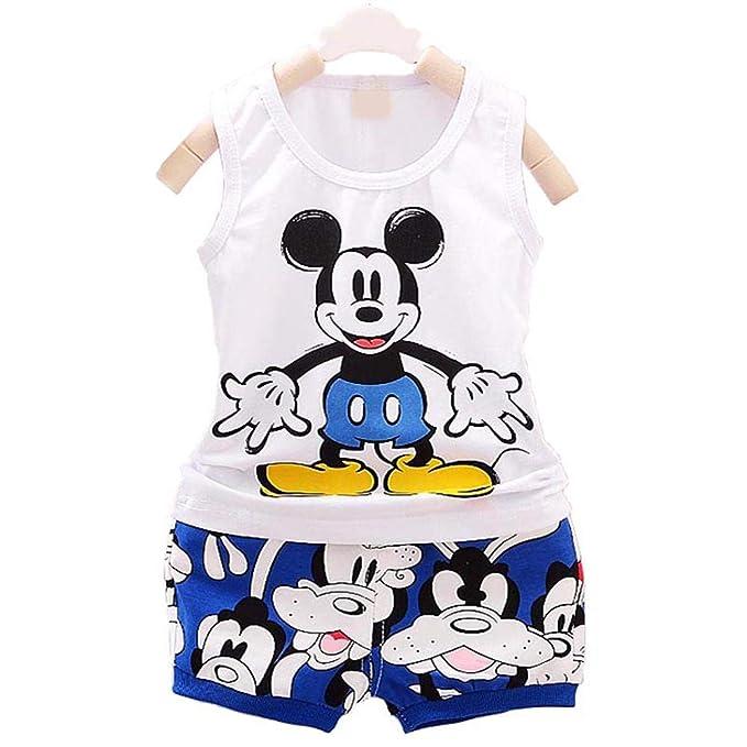 e89df3fa2 Bold N Elegant Cool White N Blue Summer Mickey Cartoon Print Little Boy  Girl Baby Clothing Set Summer Dress T-Shirt Half Pant Shorts Knicker Set  for Baby ...