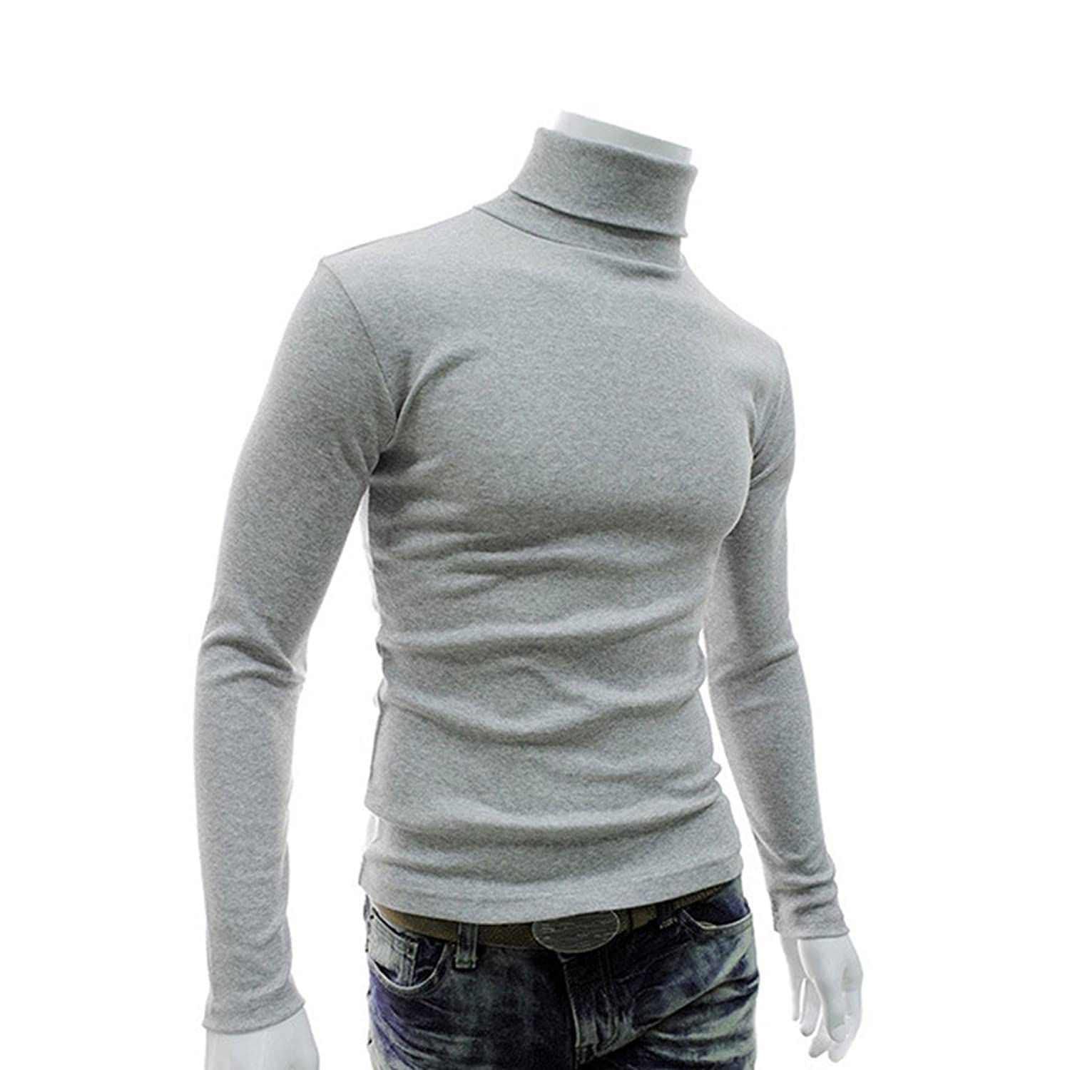 Mens Slim Fit Casual Basic Thermal Turtleneck Pullover Sweaters