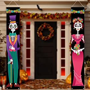 Allenjoy Day of The Dead Porch Sign Door Banner for Autumn Costume Mexico Dia De Los Muertos Baby Shower Birthday Party Supplies Decorations Flag Welcome Hanging Home Wall Decor 11.8x70.9 Inch 2PCS