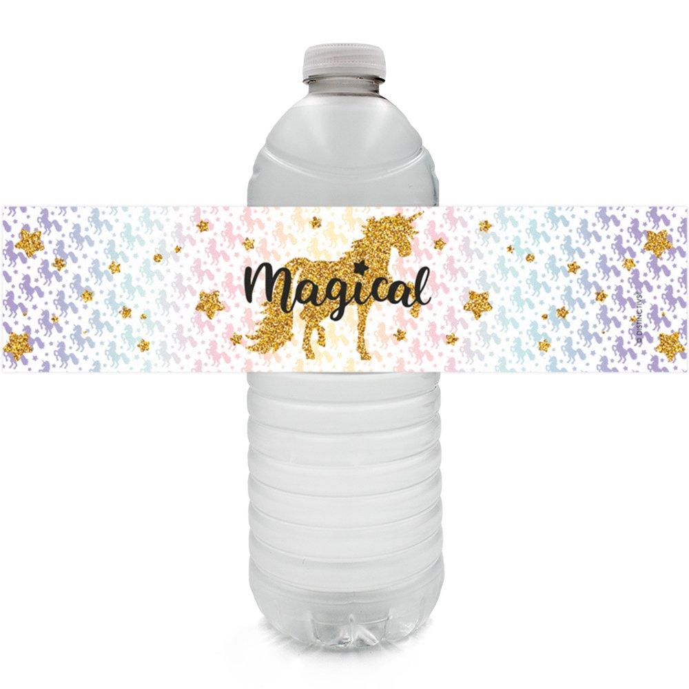 Etiquetas mágicas para botella de agua, diseño de unicornio, 24 ...