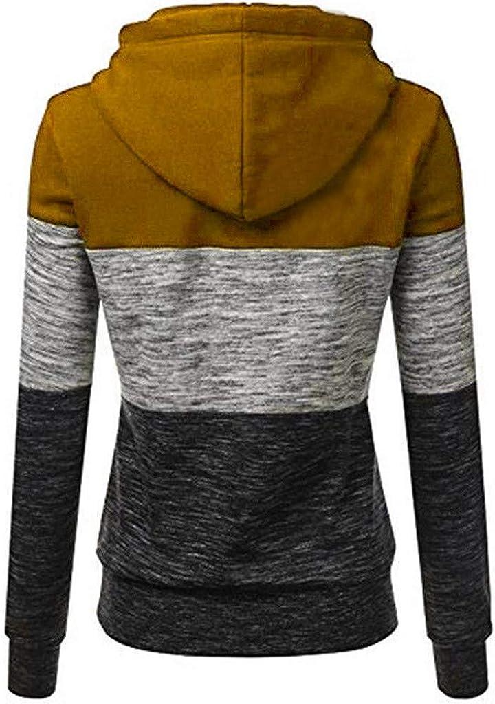 Miuye yuren-Women Casual Hoodies Sweatshirt Ladies Girls Drawstring Patchwork Hooded Tops Jumper Pullover