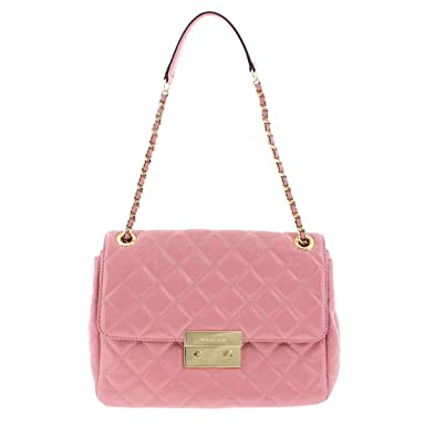 Amazon.com  Michael Kors Womens Sloan Patent Leather Quilted Shoulder  Handbag Pink Medium  Clothing f50241a67171