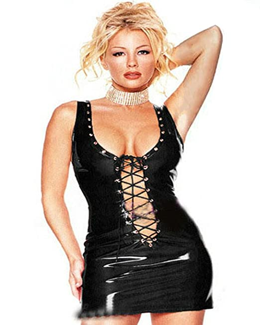 FASHION QUEEN Women Sexy Lace-up PVC Dress Black Red Sleeveless Fetish  Costume Gothic Clubwear