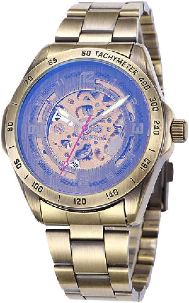 Relojes Diseño Antiguo Esqueleto Relojes Mecánicos Reloj De Pulsera De Hombre De Acero Inoxidable Vintage Reloj Reloj De Bronce Masculino