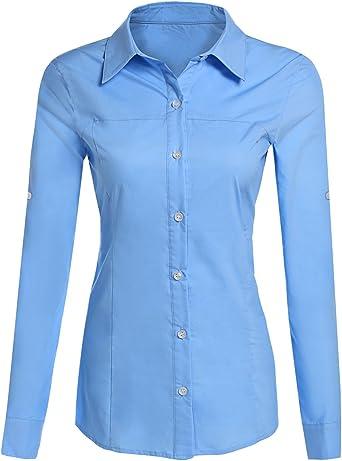 Bluetime Blusa de Manga Larga Enrollable para Mujer, Estilo Oxford, con puños Formales, con Botones: Amazon.es: Ropa y accesorios