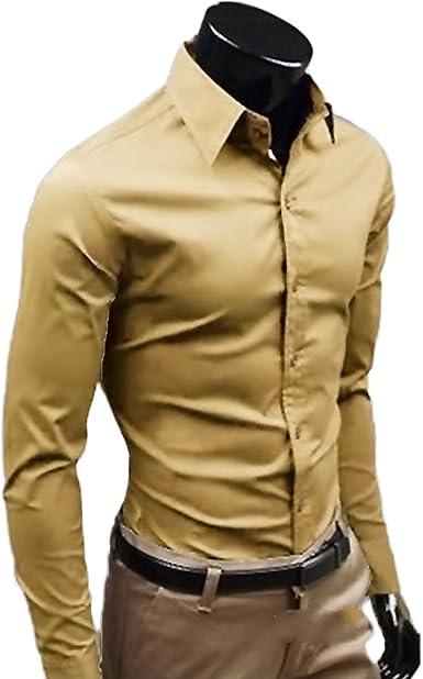 LANMWORN Hombre 17 Colores AlgodóN No Hierro Camisa Negocio Vestir Camisas, Formales Regular Ajuste BotóN Abajo CláSico Manga Larga Dress Shirt.: Amazon.es: Ropa y accesorios