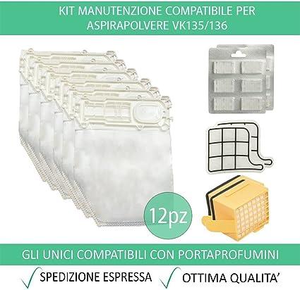 Vorwerk folletto vk135 136 spazzola setola 12 sacchetti 12 profumi filtri hepa