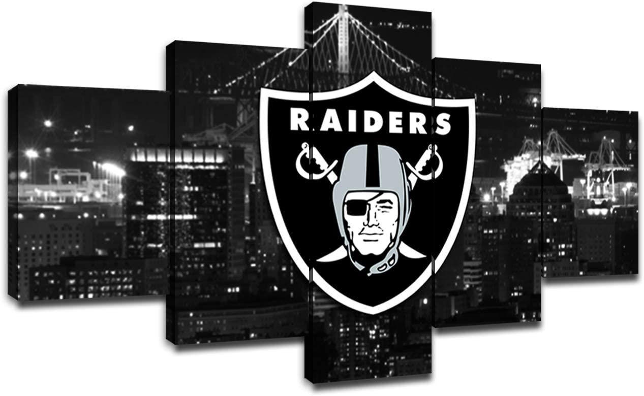 Oakland Raiders Team Logo Wall Decor Art Paintings 5 Piece Canvas Picture Artwork Living Room American Football Prints Poster Decoration Wooden Framed(60''Wx32''H)