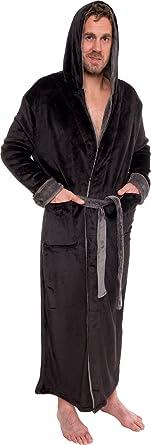 ecde9fc0d5 Ross Michaels Mens Hooded Long Robe - Full Length Big   Tall Bathrobe  (Black