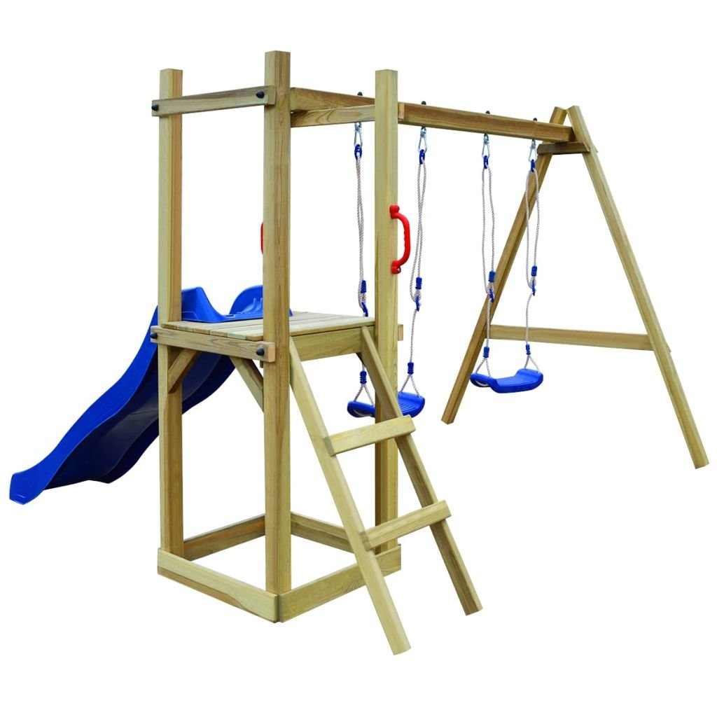 vidaXL Playhouse Set with Slide Ladder Swings 242x237x175cm Pinewood Playset