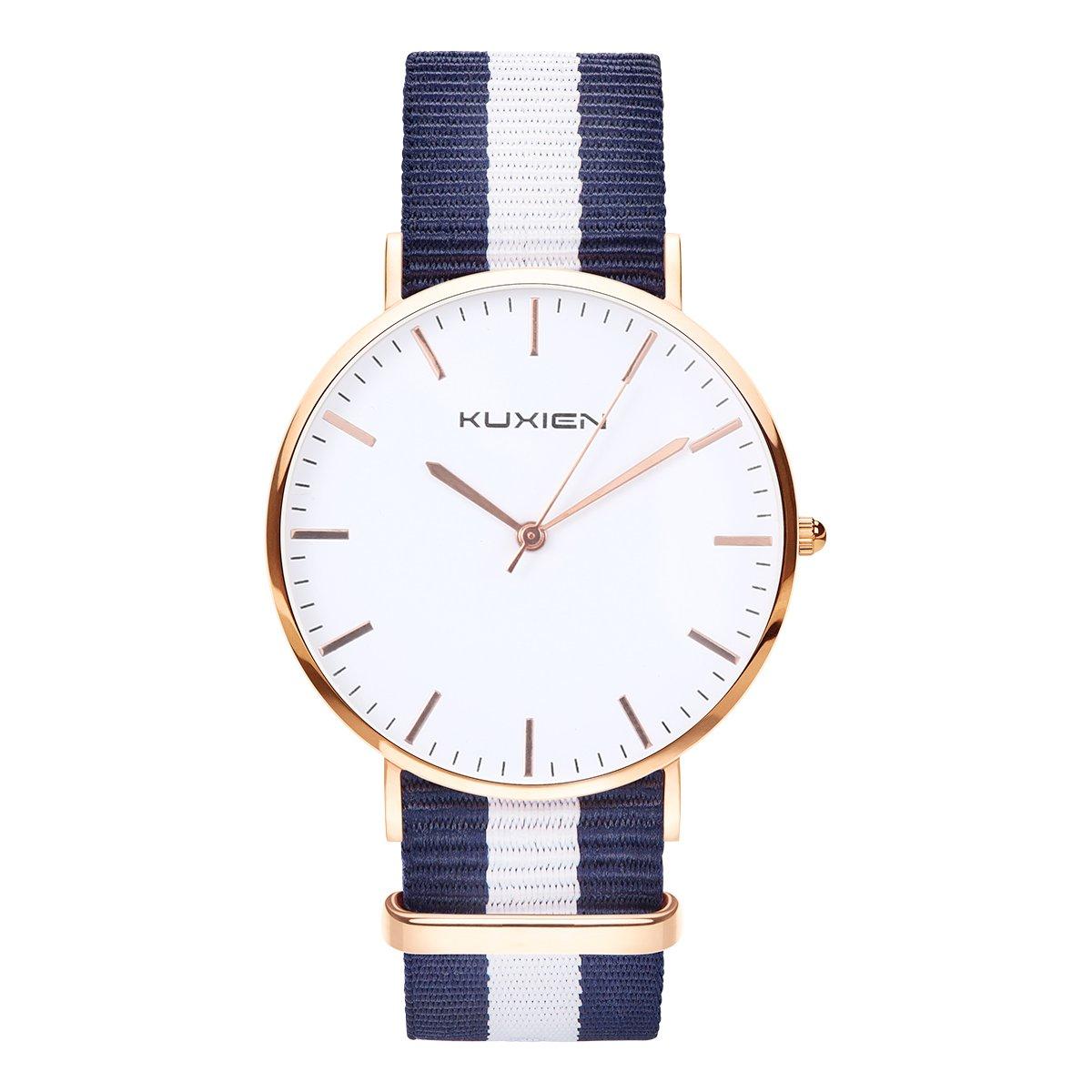 Relojes ,Relojes de pulsera KUXIEN Reloj de las mujeres, Reloj de pulsera unisex Elegantes Y Modernas ,Ultra Plana Esfera Analógico Cuarzo Reloj , correa nylon