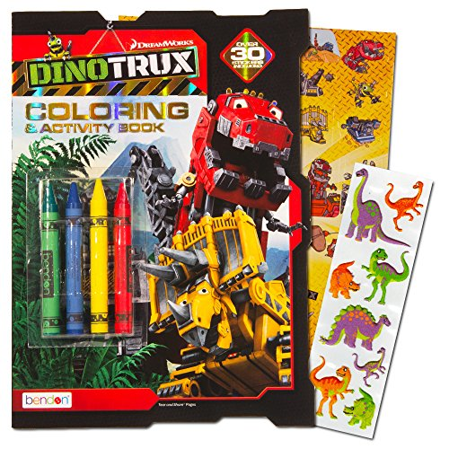Dinotrux Coloring Book Set with Over 40 Stickers and Jumbo Toddler Crayons
