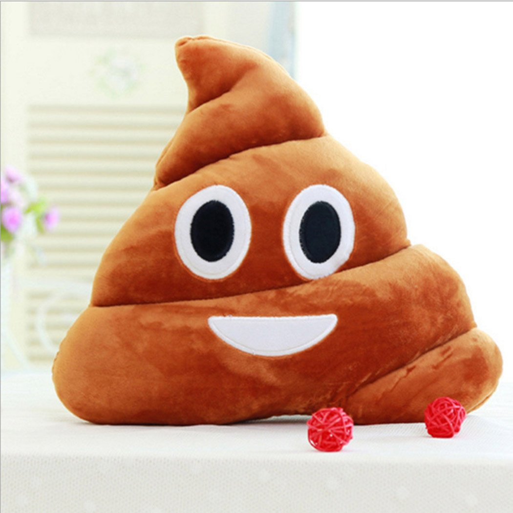 Onbio Cute Emoji Pillow Poop Shaped Cushion Stuffed Plush Doll Soft Toy for Home Sofa Office (25cm, Smile)