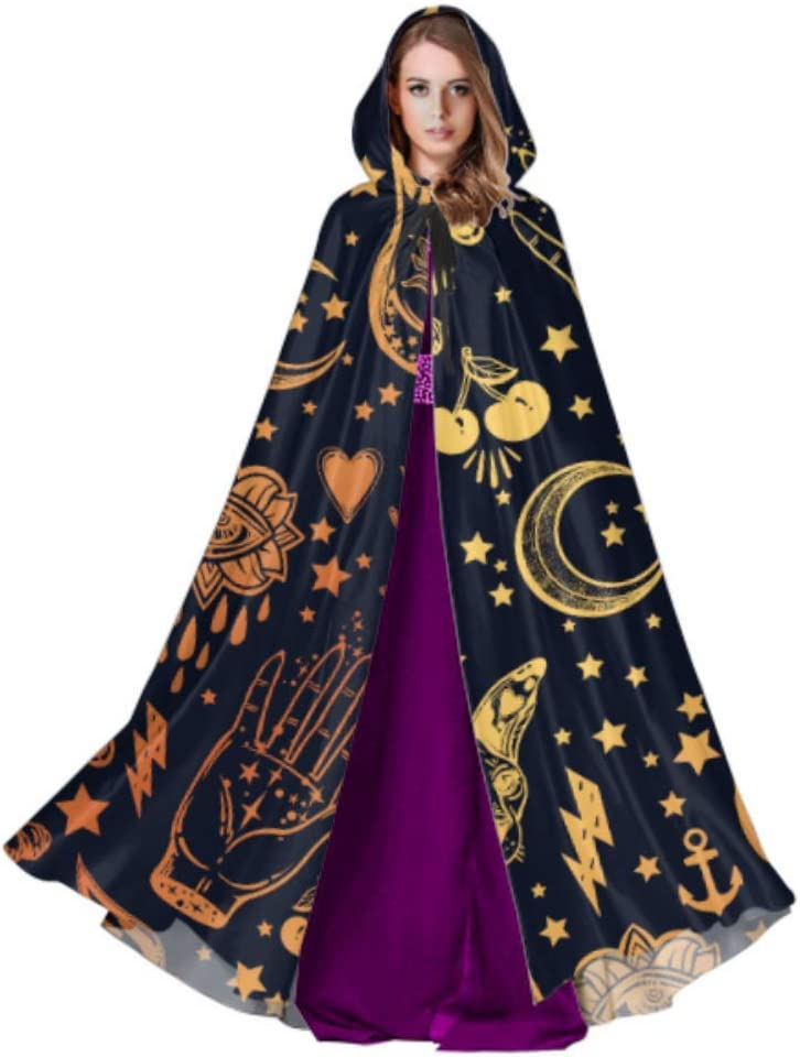 Rtosd Vintage Style Traditional Tattoo Flash Magic Inked Ladies Cloak Cape Costume Capa con Capucha 59 Pulgadas para Navidad Disfraces de Halloween Cosplay