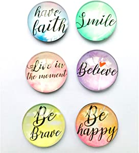 Motivational inspirational quote Refrigerator Magnets set of six 4x4cm best gifts for kids girls friend students classroom Whiteboard Locker Magnets
