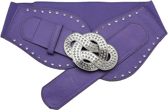 New Women Silver Metal Infinity Bling Buckle Elastic Waistband Lavender Belt S M