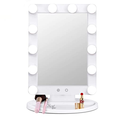 Large Hollywood Vanity Makeup Mirror with Lights- Dimable 3 Color Lighting Modes with 12 Led Light Blubs Bathroom Bedroom Desk Tabletops Lighted Cosmetic Mirror Smart Touch Sensor