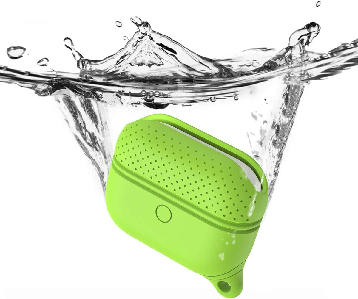 Kocuos Waterproof Case Cover Compatible with AirPods Pro Shock Resiatent Soft Durable Silicon Protective Cover for AirPods 3 Wireless Charging Case Skin with Keychain (Green)