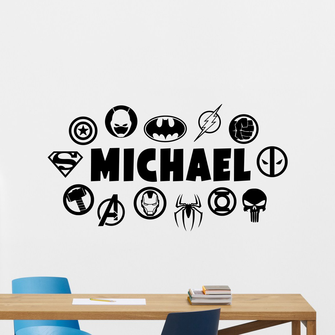 Personalized superheroes wall decal custom name dc marvel logo comics superhero vinyl sticker wall decor customized wall art kids teen boy room design ink