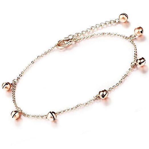 Amazoncom Womens Rose Gold Bells Pendant Anklet Bracelet Charm