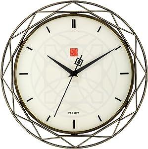 Bulova Clocks C4834 Luxfer Prism 14 Inch Frank Lloyd Wright Inspired Wall Clock