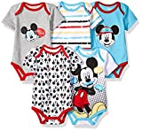 Baby : Disney Baby Boys' Mickey 5 Pack Bodysuits, Multi/Blue Fish Teal, 12M