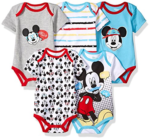 Disney Baby Boys' Mickey 5 Pack Bodysuits, Multi/Blue Fish Teal 24M