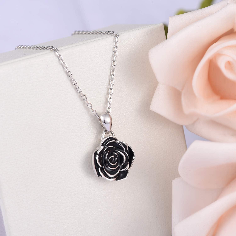 Delicate Rose Big Flower Silver Rose Necklace Silver Rose Pendant Flower Pendant Flower Jewelry Gift For Mom Victorian Rose Pendant
