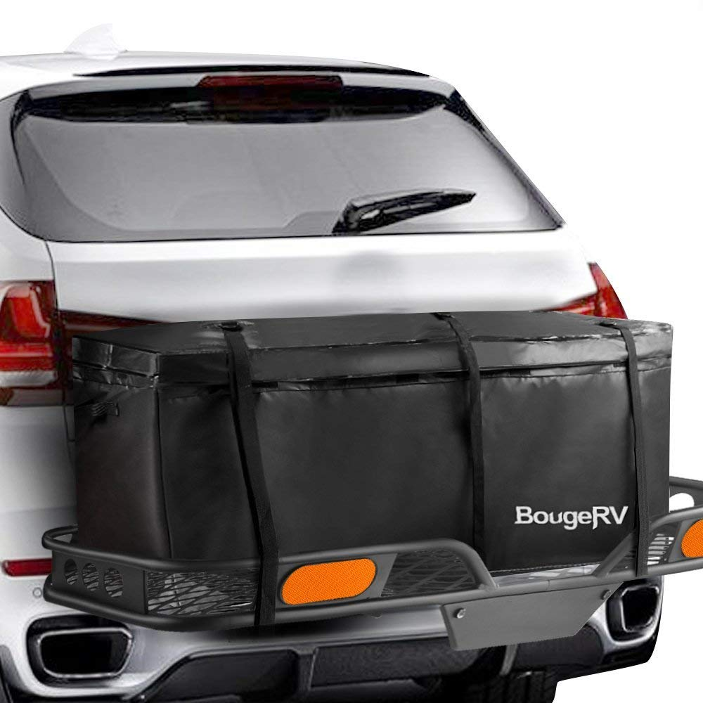 BougeRV Hitch Cargo Carrier Bag Waterproof/Rainproof Hitch Mount Cargo Bag for Car Truck SUV Vans Hitch Trays and Hitch Baskets (48'' L x 20'' W x 22'' H) by BougeRV