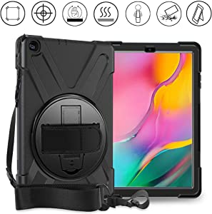 Galaxy Tab A 10.1 Case 2019, Gzerma Rugged Shockproof Kid Friendly Silicone Protective Cover Case with 360 Stand, Hand Strap & Shoulder Strap for Samsung Galaxy 10.1 inch Tablet SM-T510/SM-T515, Black