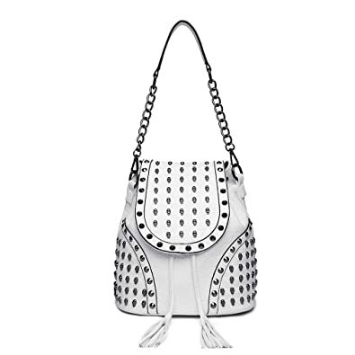 Miss Lulu Women Backpack Pu Leather Rivet Studded Skull Chain Shoulder Bag  Anti Theft Travel Work 9b46f387770bf