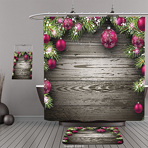 Uhoo Bathroom Suits & Shower Curtains Floor Mats And Bath TowelsChristmas Decorations Collection Old Fashioned Christmas Concept Twigs and Balls on Rustic Wood Vintage Decor Art Brown PinkFor Bathroom