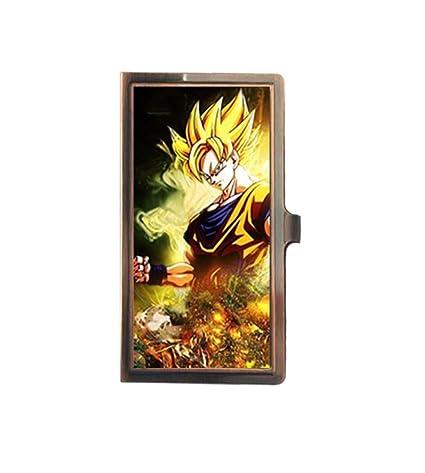 Dragon Ball Z Son Goku Super Saiyan único personalizado acero inoxidable bronce tarjetero nombre negocios funda