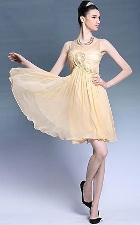 Elliot Claire London Short Sleeveless Gold Prom Dress UK6