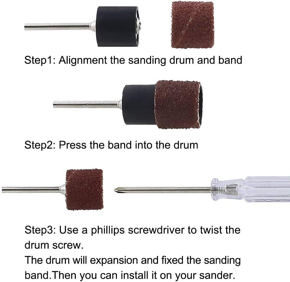 CENGOOD 1//2 Sanding Drum Kit with 250Pcs Sanding Bands Drums Sleeves 80//150//180//240//320 Grits 10Pcs Drum Mandrels