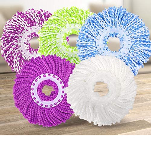 5 Replacement Mop Micro Head Refill for 360° Spin Magic Mop-Microfiber Replacement Mop Head-Round Shape Standard ()