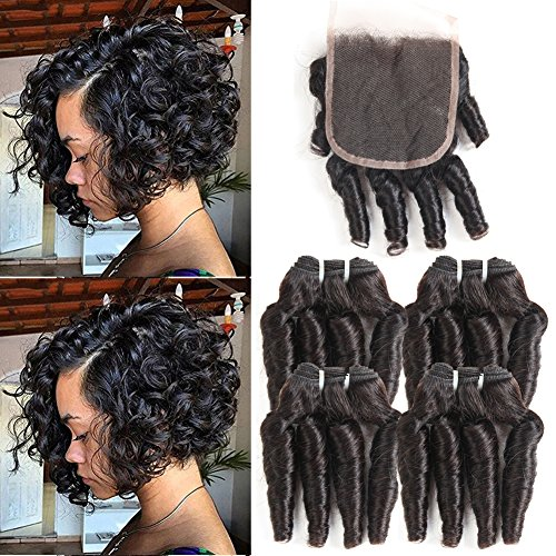 MORICHY Hair Funmi Hair Bundles with Closure Funmi Loose Wave Closure and 4 Bundles Bouncy Curly Hair Bundles Brazilian Human Hair Extensions (8 8 8 8+8 (Bouncy Hair Wig)