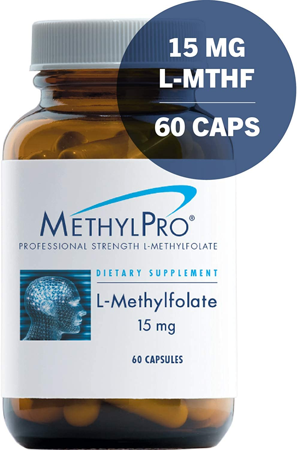 MethylPro L-Methylfolate 15mg 60 Capsules – No Fillers, Professional Strength 15000mcg Active Folate, 5-MTHF for Mood, Homocysteine Methylation Immune Support, Non-GMO Gluten-Free 60 Capsules