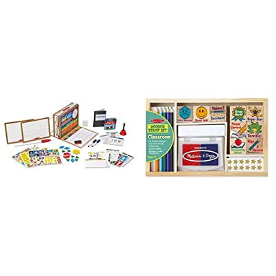 Melissa & Doug School Time! Classroom Play Set (Best for 4, 5, 6, 7 and 8 Year Olds) & Wooden Classroom Stamp Set with 10 Stamps, 5 Colored Pencils, 4 Sticker Sheets, and 2-Colored Stamp Pad: Toys & Games