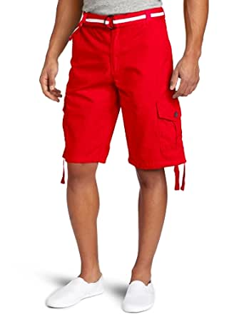 Southpole Men's Basic Cargo Short 13 Inch, Red, 29