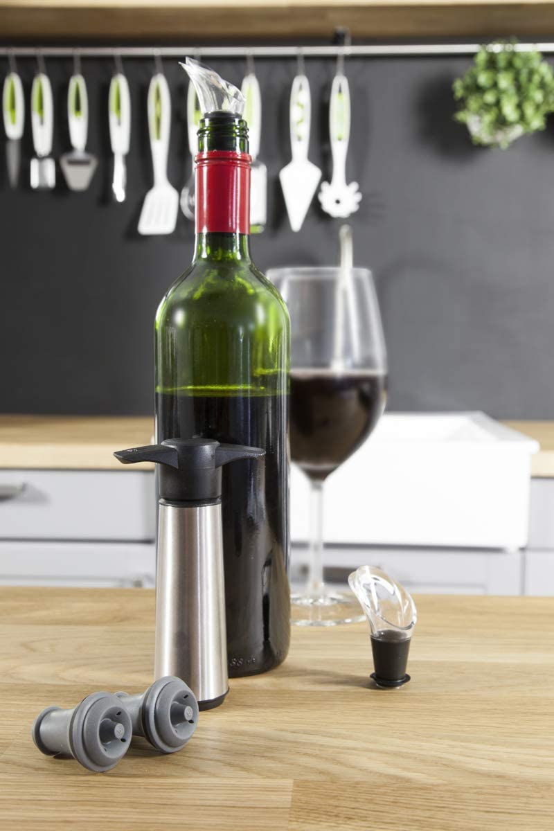The Original Vacu Vin Wine Saver with 2 Vacuum Stoppers and 2 Wine Servers - Stainless Steel