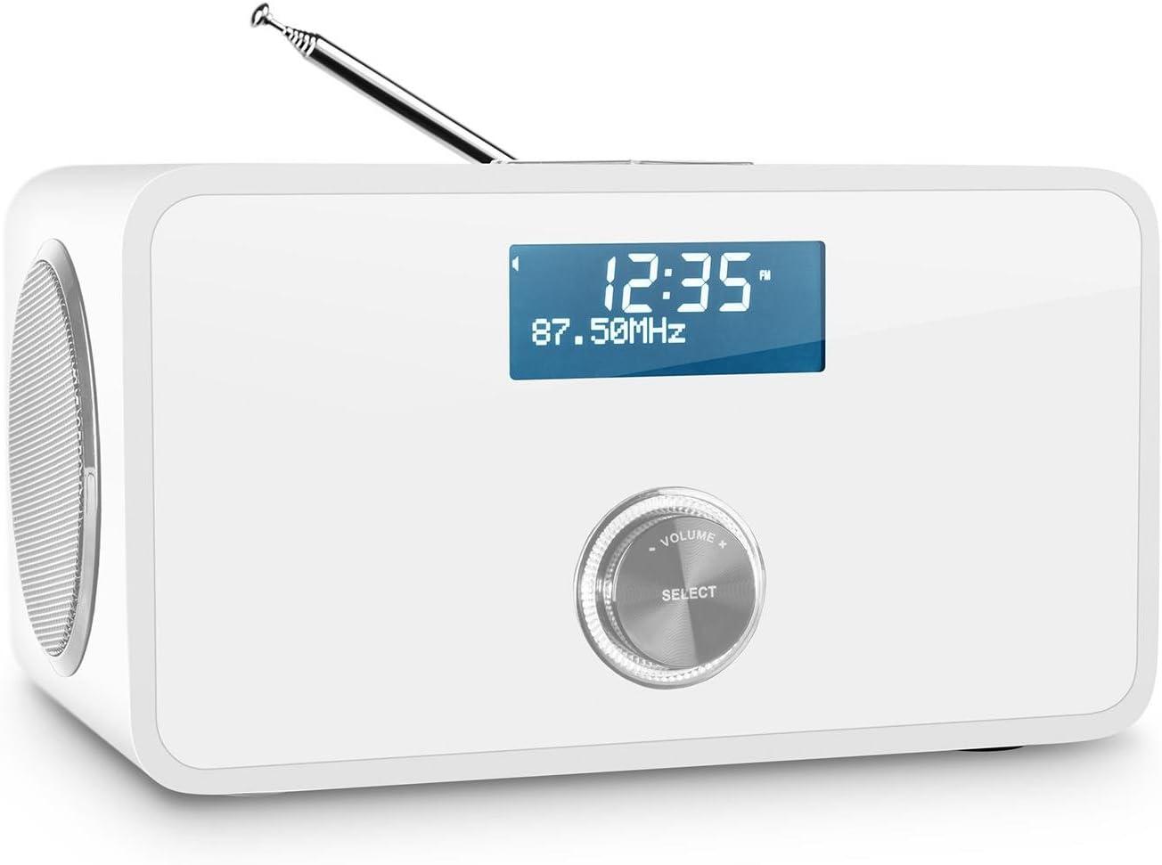Auna DABStep Radio Digital Dab/Dab+ (Bluetooth, Receptor FM, Despertador,  bassreflex, Pantalla LCD) - Blanco