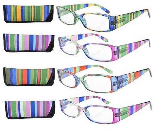 17 opinioni per 4-Pack Templi a righe cerniera occhiali da lettura di primavera+1.50