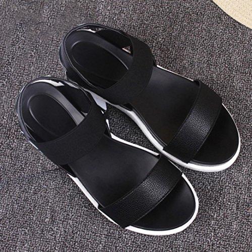 Zapatos Peep Negro Sandalias Toe Bajos Mujer Verano Logobeing Plataforma de de con Zapatos Zapatos Planas 67wBxUv