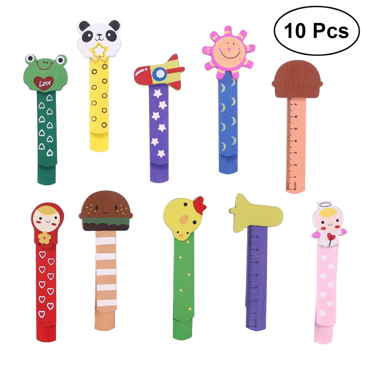 10 marcapáginas para niños de Nuolux, con regla de madera, perfecto como regalo para cumpleaños infantil