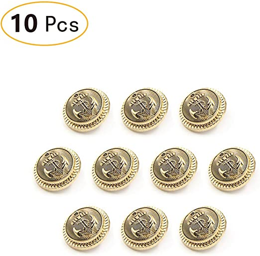 """GOLD /& WHITE ANCHOR BUTTON ~ SHANK ~ SET OF 9  ~ 1/"""" SIZE"""